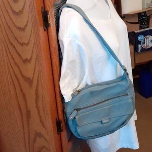 Fossil light blue leather shoulder bag